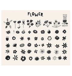plants ink rubber stamp graphics handcrafted vector image