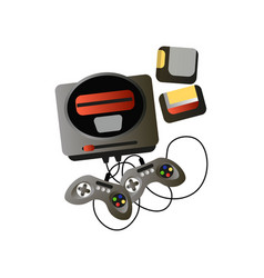 retro video game device with two joysticks and vector image