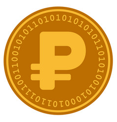russian rouble digital coin vector image
