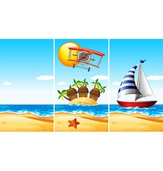 Scene with boat on the sea vector