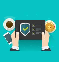 Security verification check digital test on tablet vector