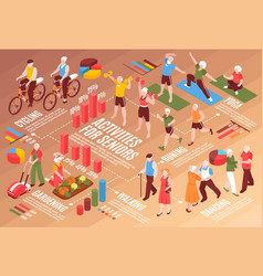 senior people isometric flowchart vector image