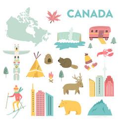 set landmarks icons symbols canada vector image