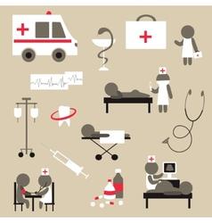 Set of flat design icons on medicine theme vector