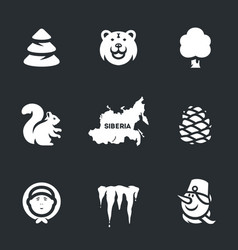 set of siberia icons vector image