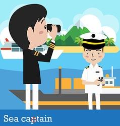 Ship captain sailor sea vector