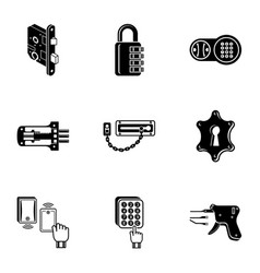 Shut icons set simple style vector