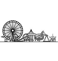 silhouette black amusement park vector image