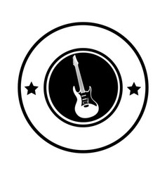 silhouette circular border with electric guitar vector image