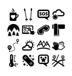 ski resort icons set vector image