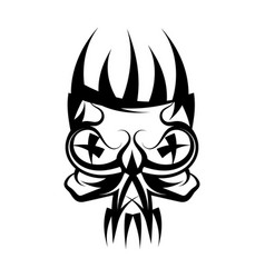 Skull with crown on head tattoo vector