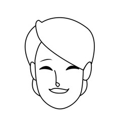 Smiling woman face character young female vector