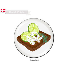 smorrebrod with squid the national dish of denmar vector image