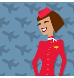 Stewardess people occupation airline advertisement vector