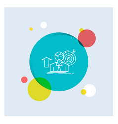 Success user target achieve growth white line vector