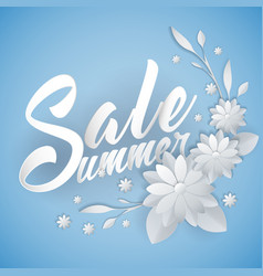 summer sale lettering with paper art flowers vector image