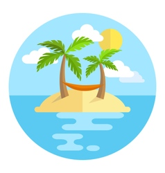 Summer vacation circle icon island with palms sun vector image