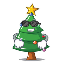 super cool christmas tree character cartoon vector image