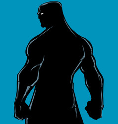 superhero back battle mode silhouette vector image