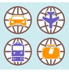 travel isolated icons set vector image