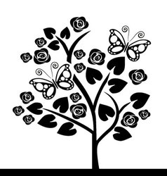 Tree with butterflies vector