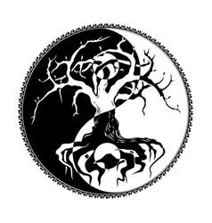 tree yin yang vector image