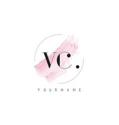 Vc watercolor letter logo design with circular vector