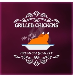 Vintage grilled chickens signage vector
