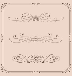 vintage ornaments and frames on beige background vector image
