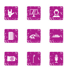wifi place icons set grunge style vector image