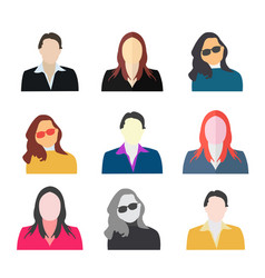 woman avatar icon set collection woman avatar set vector image