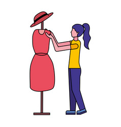 woman clothing designer with figure dress vector image