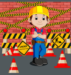 Worker with construction sign vector