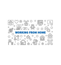 working from home line concept horizontal vector image