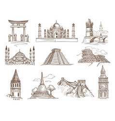 World landmarks famous buildings and architecture vector