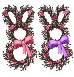 wreath cherry tree in form bunny with bow vector image