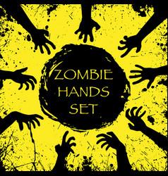 zombie halloween hands vector image