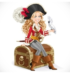 Cute pirate girl with parrot sit on big chest vector image vector image