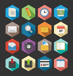 Office flat icons set design vector image