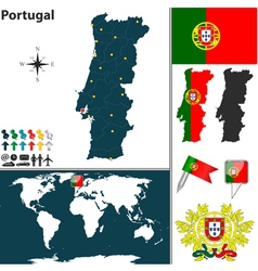 Portugal map world vector image vector image