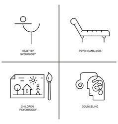 Psychology logo set vector