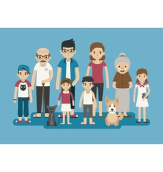 Set of big happy family character eps10 vector image