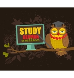 Clever owl on the tree with computer vector