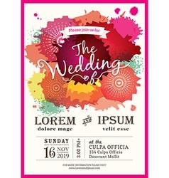 color splash wedding party invitation card vector image