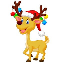 Cute deer cartoon with red hat and christmas ball vector image vector image