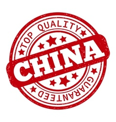 Made in China red graphic Round rubber vector image