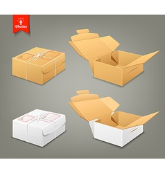 Parcel boxes brown and white box collections vector image vector image