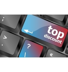 top discount concept sign on computer key vector image