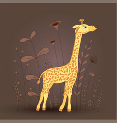 gift postcard with cartoon animal giraffe vector image