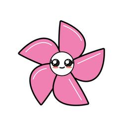 Kawaii cute happy flower with petals vector